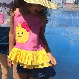 Lego Girl Inspired Appliquéd Sweetheart Top
